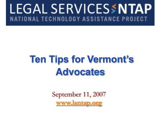 Ten Tips for Vermont's Advocates