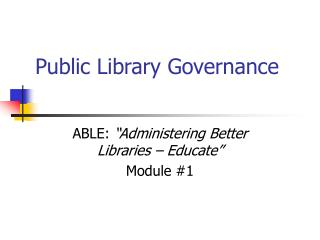 Public Library Governance