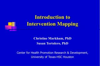 Introduction to  Intervention Mapping
