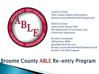Broome County  ABLE Re-entry Program