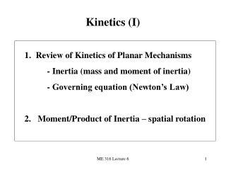 Kinetics (I)