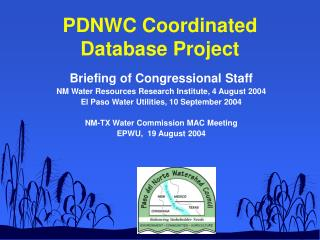 PDNWC Coordinated  Database Project