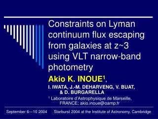 Constraints on Lyman continuum flux escaping from galaxies at z~3 using VLT narrow-band photometry