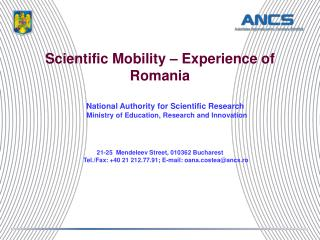 Scientific Mobility – Experience of Romania