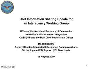 DoD Information Sharing Update for an Interagency Working Group
