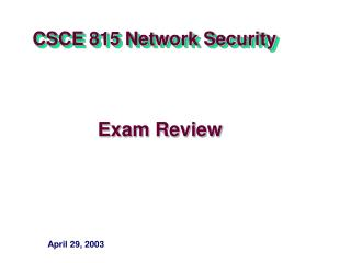 CSCE 815 Network Security