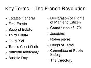 Key Terms – The French Revolution
