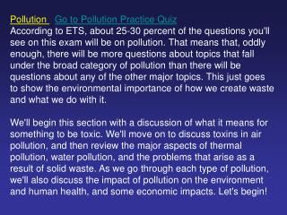 Pollution  Go to Pollution Practice Quiz