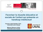 Favoriser la r ussite  ducative et sociale de l enfant qui pr sente un handicap intellectuel