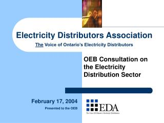 Electricity Distributors Association The  Voice of Ontario's Electricity Distributors