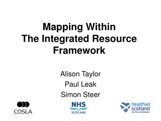 Mapping Within  The Integrated Resource Framework