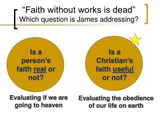 """""""Faith without works is dead"""" Which question is James addressing?"""