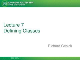 Lecture  7 Defining Classes