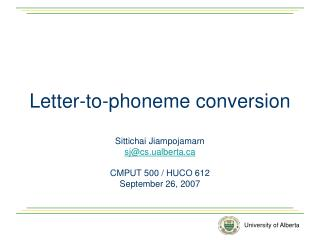 Letter-to-phoneme conversion