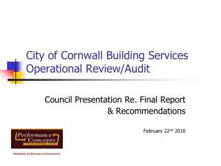 City of Cornwall Building Services Operational Review/Audit