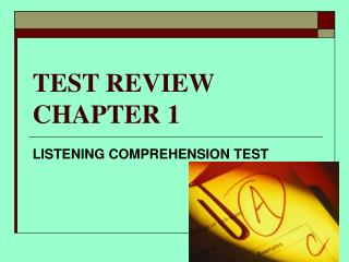 TEST REVIEW  CHAPTER 1