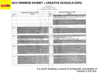 2012 WINNERS EXHIBIT + CREATIVE SCHOOLS EXPO