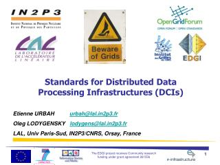 Standards for Distributed Data  Processing Infrastructures (DCIs)
