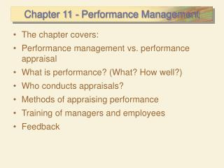 Chapter 11 - Performance Management