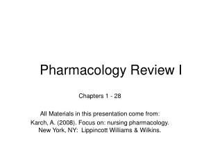 Pharmacology Review I