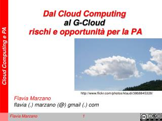 Dal Cloud Computing  al G-Cloud rischi e opportunità per la PA