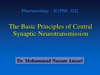Pharmacology – II [PHL 322]