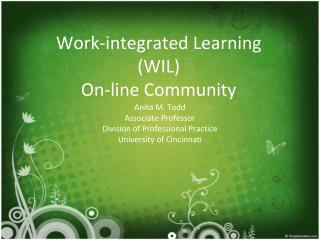 Work-integrated Learning  (WIL) On-line Community