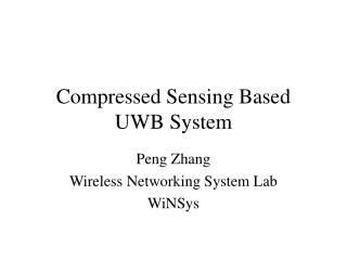 Compressed Sensing Based UWB System