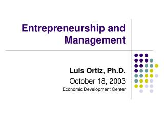 Entrepreneurship and Management