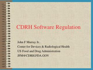 CDRH Software Regulation