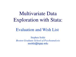 Multivariate Data Exploration with Stata: