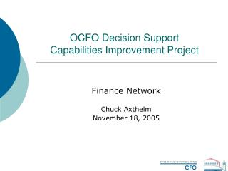 OCFO Decision Support  Capabilities Improvement Project