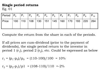 Single period returns Eg. 01