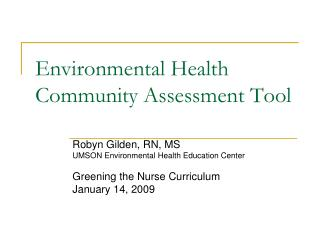 Environmental Health Community Assessment Tool