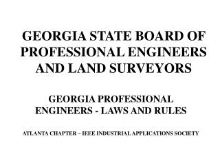 GEORGIA STATE BOARD OF PROFESSIONAL ENGINEERS AND LAND SURVEYORS