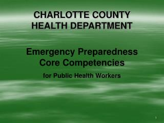 CHARLOTTE COUNTY  HEALTH DEPARTMENT