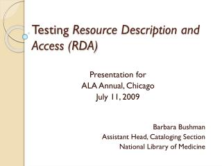 Testing  Resource Description and Access (RDA)