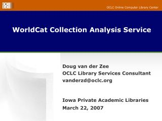 WorldCat Collection Analysis Service