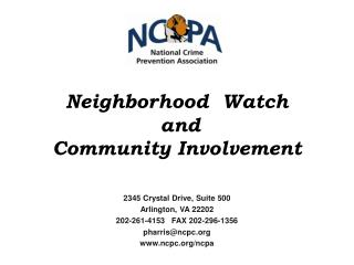 Neighborhood  Watch  and Community  Involvement