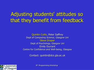 Adjusting students attitudes so that they benefit from feedback