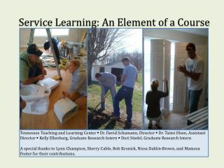 Service Learning: An Element of a Course