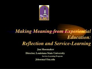 Making Meaning from Experiential Education: Reflection and Service-Learning