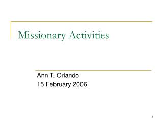 Missionary Activities