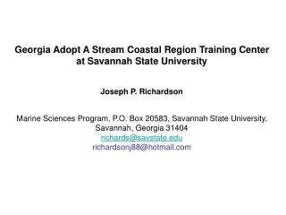 Georgia Adopt A Stream Coastal Region Training Center at Savannah State University