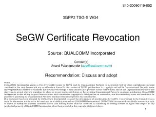SeGW Certificate Revocation