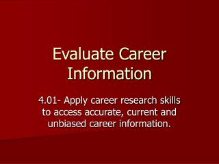 Evaluate Career Information