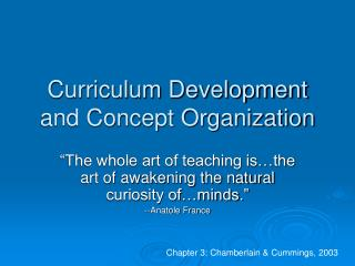 Curriculum Development and Concept Organization