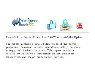 EndesaS.A. - Power Plants And SWOT Analysis2014 Update