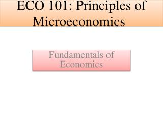 ECO 101: Principles  of Microeconomics