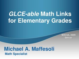 GLCE-able  Math Links  for Elementary Grades
